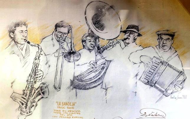En papel. El artista José Luis López Saura inmortalizó al grupo en un dibujo.  Rosa Blanco