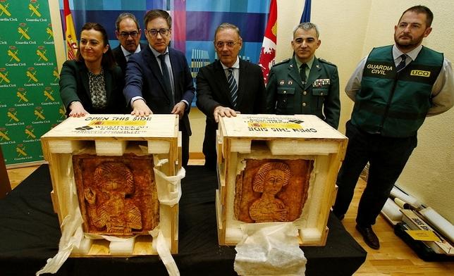 Los relieves llegaron al Museo de Burgos pasadas las 13:30 Valdivielso