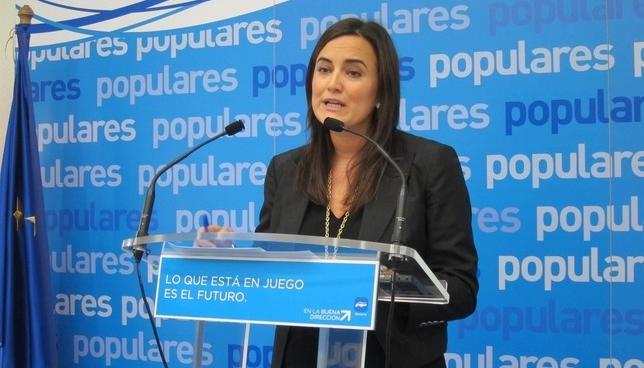 Cristina Sanz, en una rueda de prensa del Partido Popular