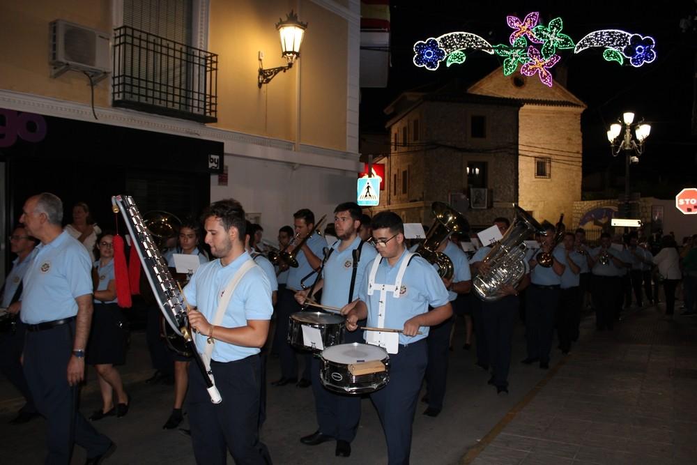 Banda de música abriendo el Desfile-Concurso de Carrozas de las fiestas de Tarancón 2019.