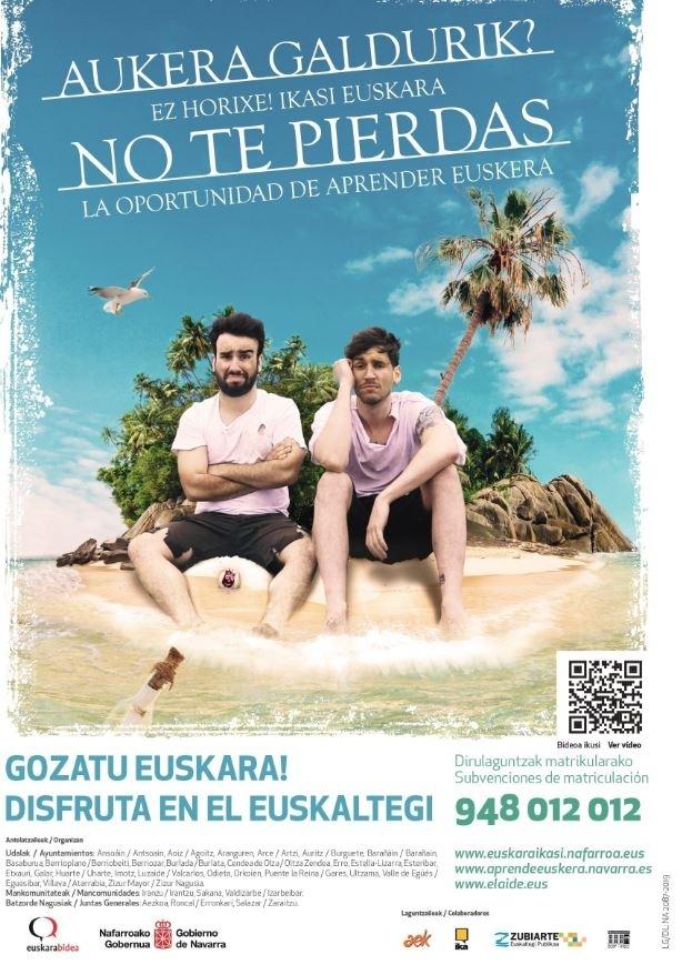 Cartel campaña 'No te pierdas la oportunidad de aprender euskera'