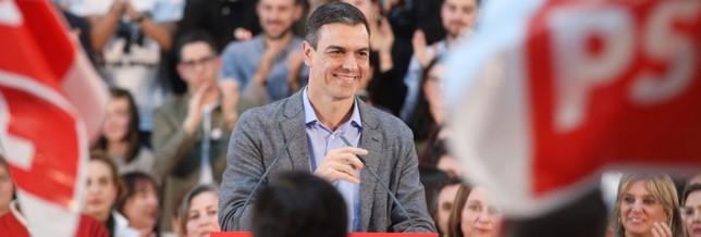 Pedro Sánchez, en un acto de campaña PSOE