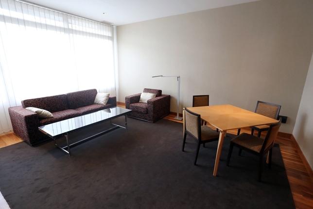 Sofás, mesas y sillas hay en varias estancias, pero no existe ninguna cama.