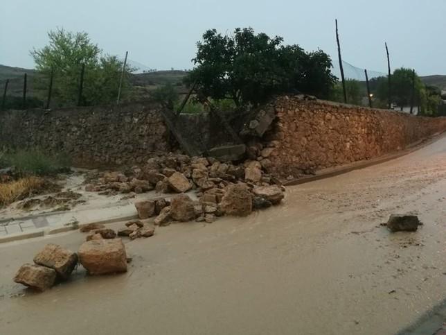 Caída de un muro junto a una carretera en Castrillo.