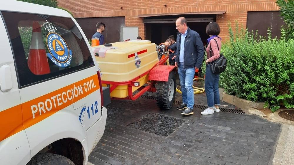 El alcalde de Guadalajara comprueba los trabajos de achique