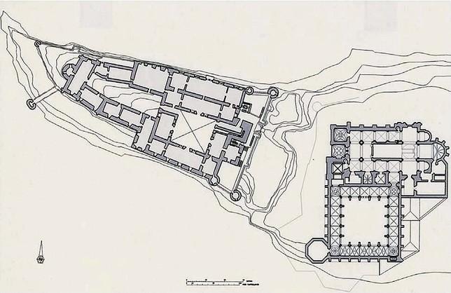Planta hipotética del Alcázar y de la catedral vieja, románica, a finales del siglo XV. Imagen incluida en la documentación del proyecto de reforma de la plaza de la Reina Victoria Eugenia.