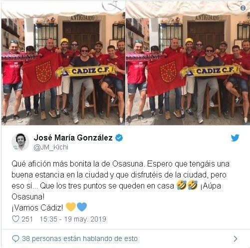 El alcalde de Cádiz se vuelca con la afición rojilla