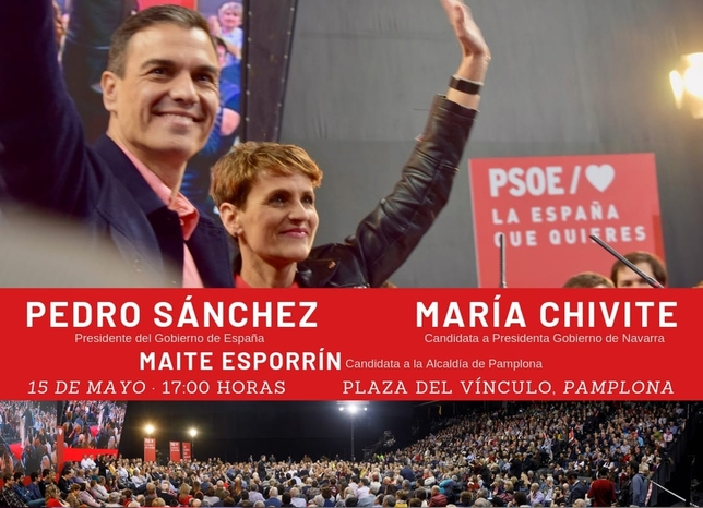 Pedro Sánchez participa hoy en un acto político en Pamplona