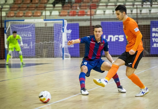 Imagen del Levante- Aspil Vidal disputado el viernes. Un partido que acabó empate a 3. Ribera Navarra FS