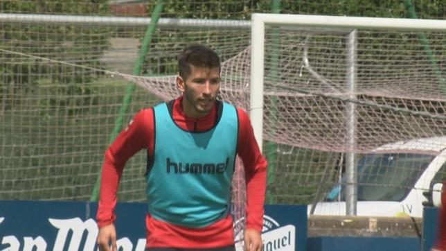 David García, durante el entrenamiento de este miércoles
