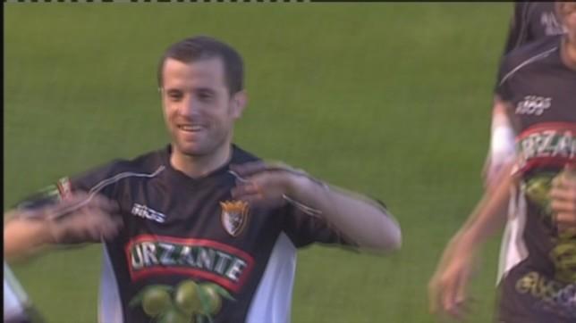 El pamplonés, de 32 años, celebrando un gol con el Tudelano