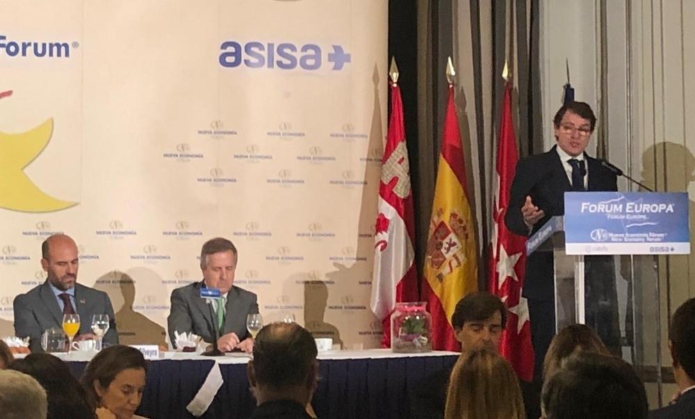 Alfonso Fernández Mañueco, durante su comparecencia en el desayuno informativo celebrado en Madrid.