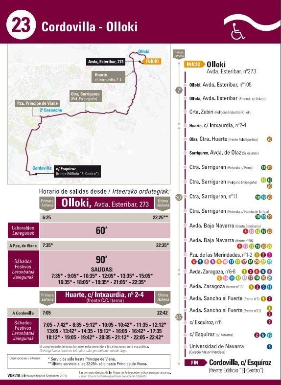 La línea 23 de la villavesa llegará hasta Cordovilla