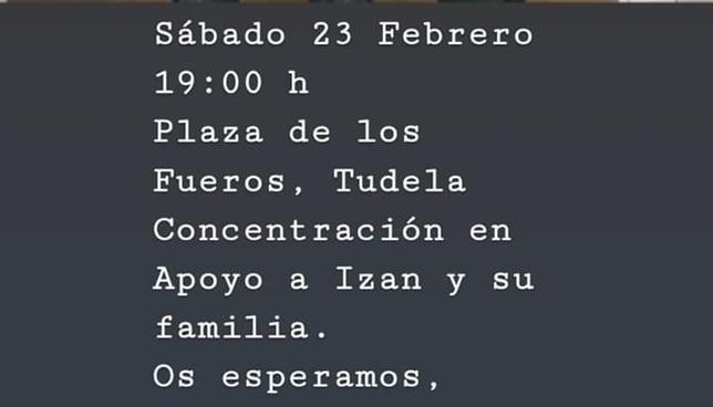 Llaman a una concentración en Tudela en apoyo a Izan
