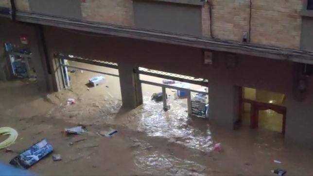 Tafalla, inundada por el desbordamiento del río Cidacos