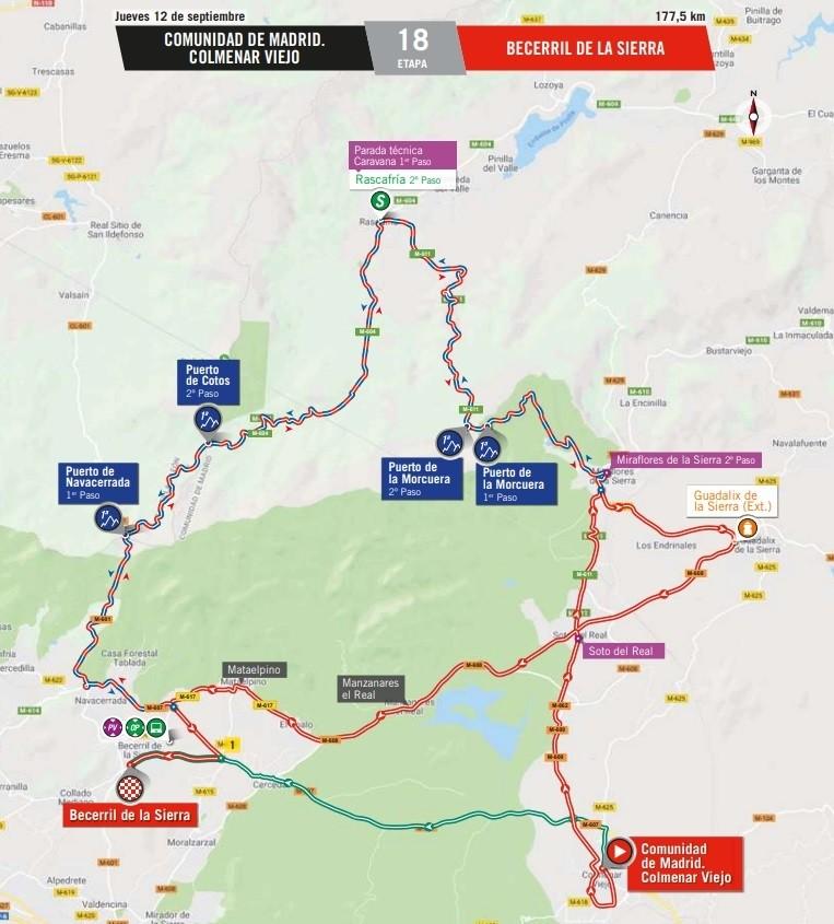Horarios de paso de La Vuelta a España por la sierra