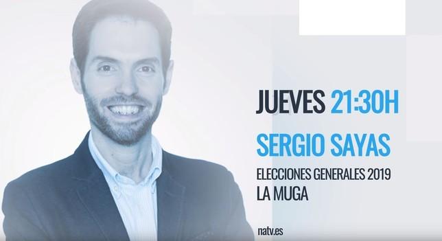 Sergio Sayas, de Navarra Suma, esta noche en Navarra TV