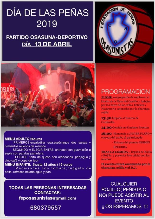 Cartel con los actos previstos para el 'Día de las peñas osasunistas' Federación de peñas osasunistas