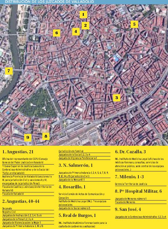 Distribución de las sedes judiciales de Valladolid