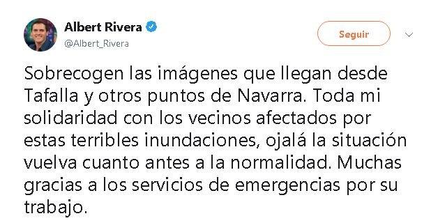 Casado y Rivera se solidarizan con Tafalla y Navarra