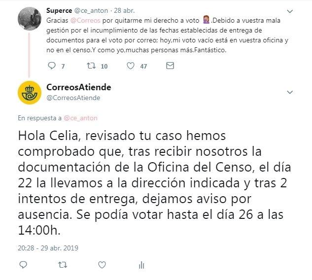 Correos entregó los papeles a tiempo a Celia Antón