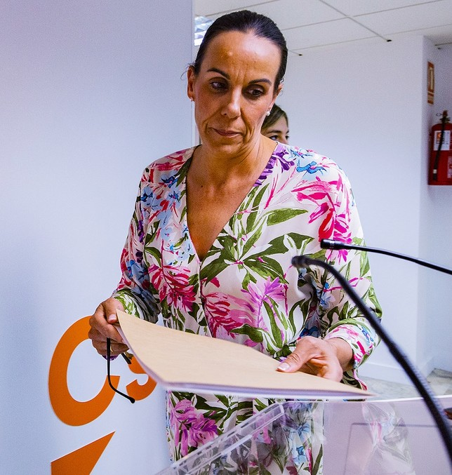 Eva María Masías, en la rueda de prensa ofrecida en la sede de Ciudadanos. Rueda Villaverde