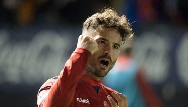 Rubén García celebra uno de los cuatro goles marcados en Liga