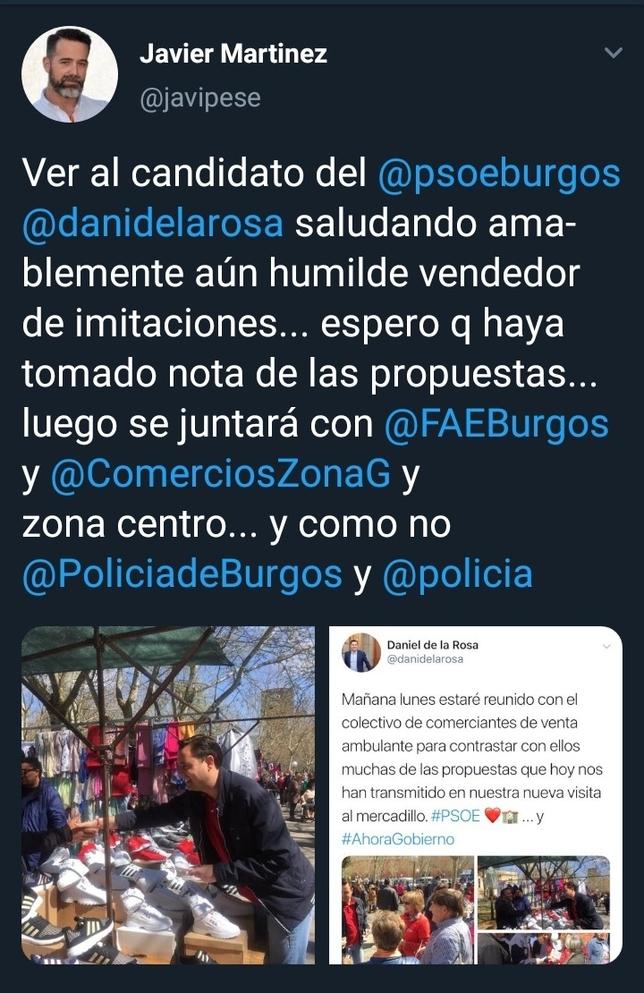 El PSOE y Vox se enzarzan por una foto en el mercadillo