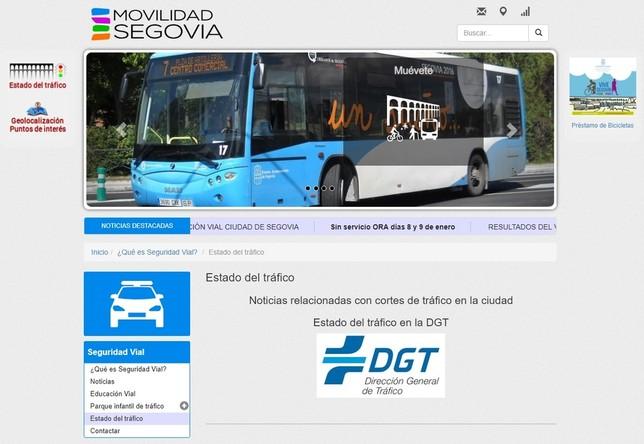 Enlace creado en la web de movilidad del Ayuntamiento para informar sobre noticias relacionadas con cortes de tráfico, aunque sólo ofrece un enlace a la web de la DGT