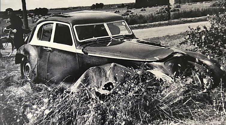Imagen del Corniche de 1939 tras su accidente con un autobús.