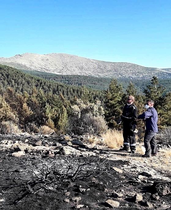 Lugar asolado por el incendio, en la cumbre de la montaña.