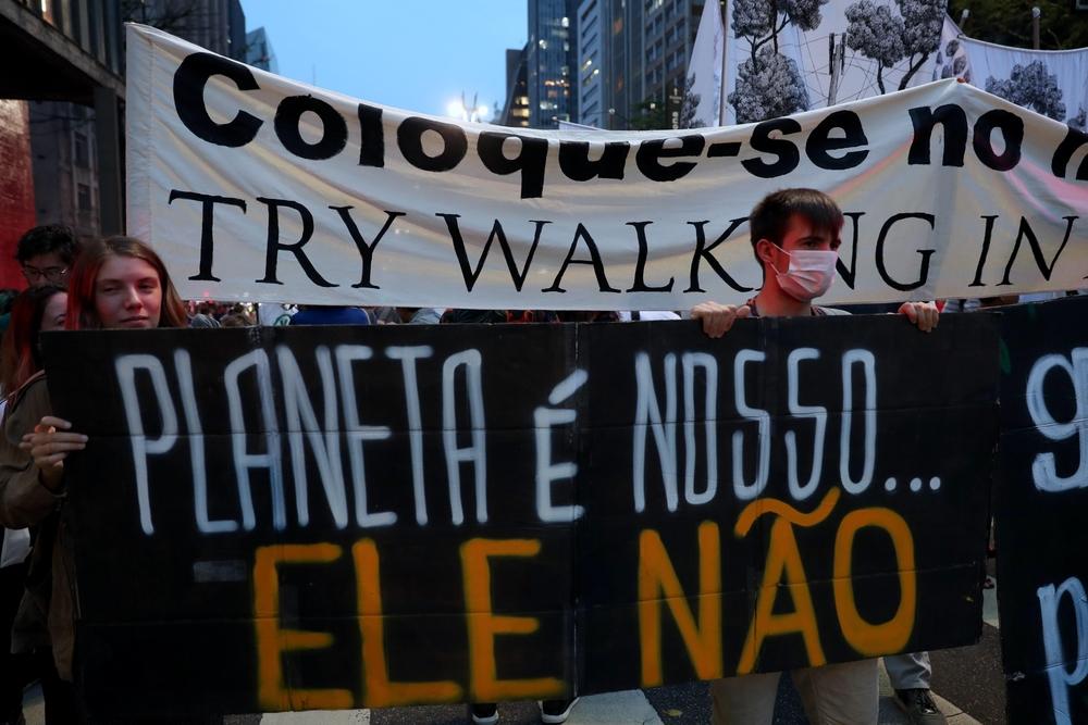 Manifestación Sao Paulo contra el cambio climático
