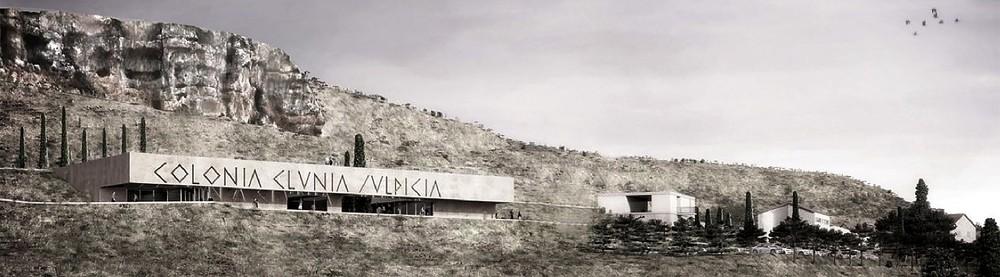 Recreación del centro de recepción, a los pies de la Peña Sobaños, ideado por los arquitectos sevillanos que ganaron el concurso en noviembre de 2015.