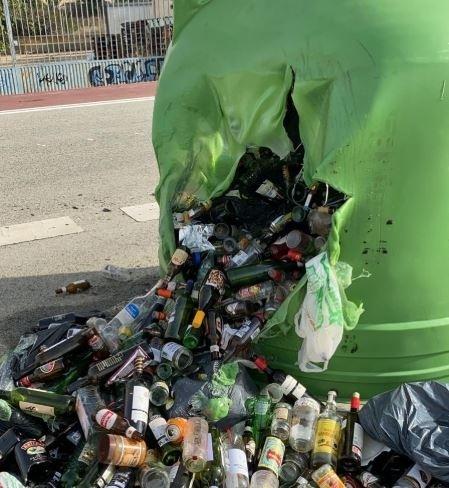 Tudela amanece con varios contenedores quemados