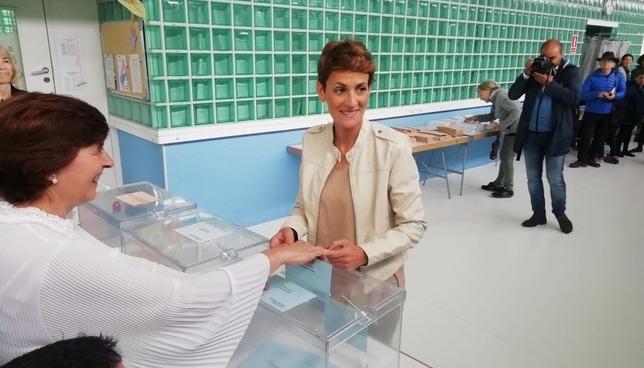 María Chivite, optimista ante esta jornada electoral Europa Press