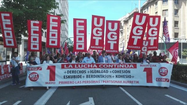 UGT y CCOO en la manifestación del Primero de Mayo