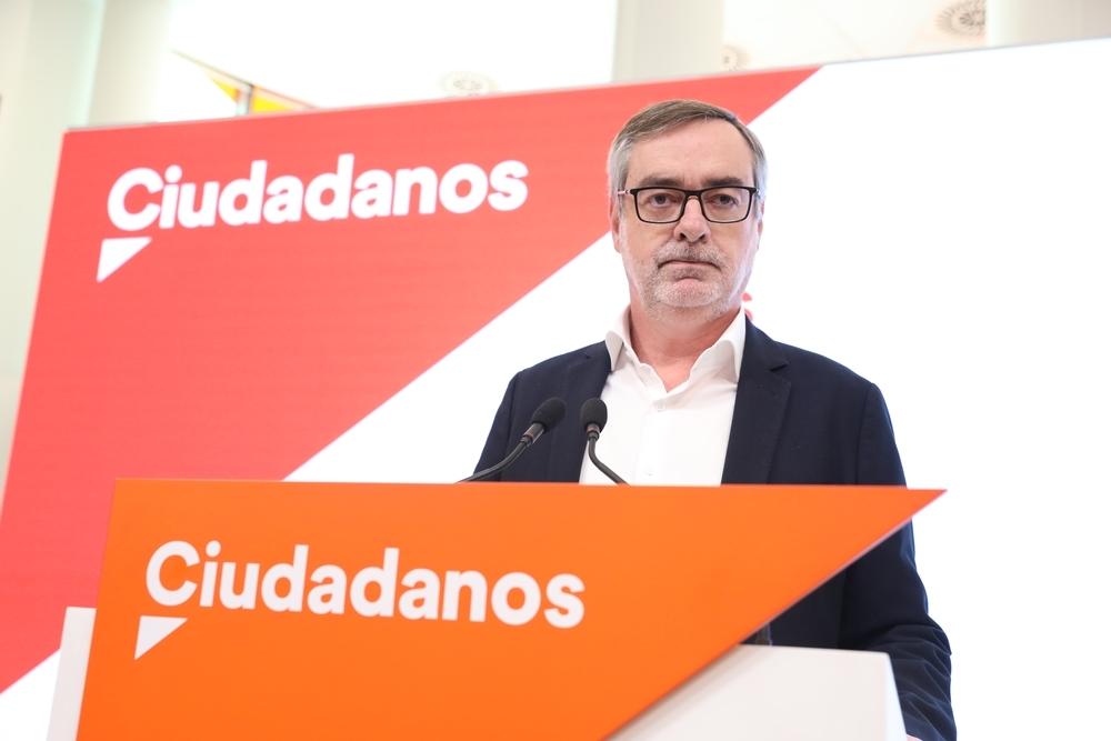 El secretario general de Ciudadanos, José Manuel Villegas, en rueda de prensa en la sede del partido.
