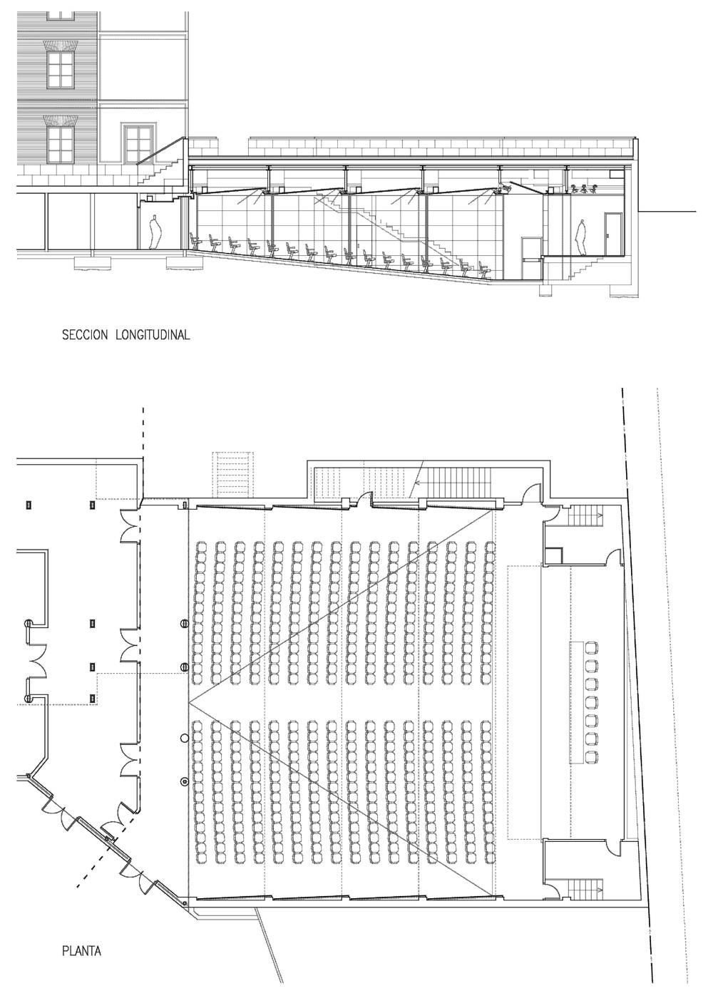 Planos del salón de actos, para congresos, convenciones u otras citas. Tendrá unas 450 butacas y será subterráneo, a diferencia del salón de eventos, que sí irá en una edificación nueva.
