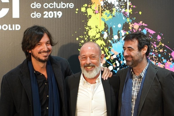 (I a D) El director Carlos Polo Menárguez junto a Chema del Barco ' y Antonio de la Torre en la presentación de la película de la Sección Oficial 'El plan'.