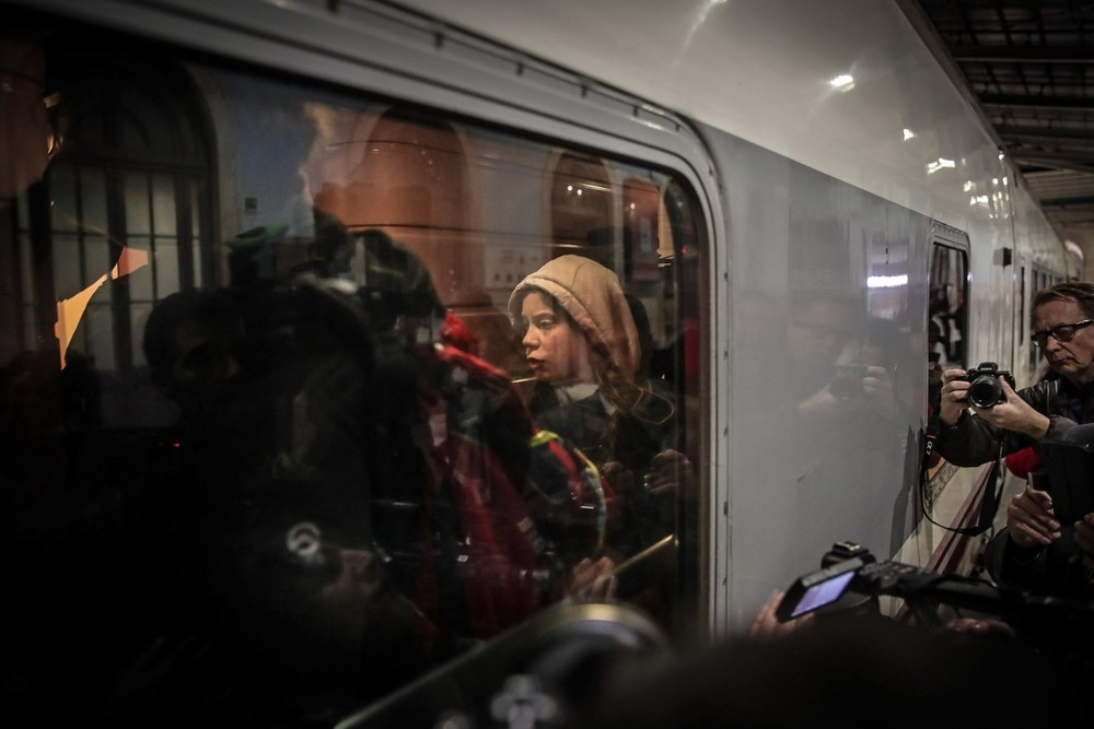 Greta Thunberg llega a Madrid en tren desde Lisboa