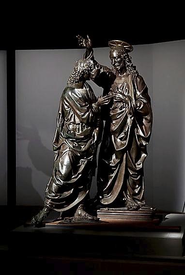 'Cristo y Santo Tomás' estatua de Andrea del Verrocchio.