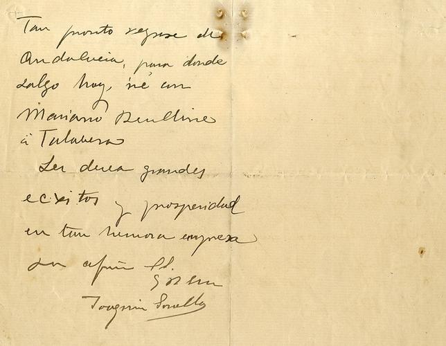 Reverso de la carta de Sorolla a la Fábrica Nuestra Señora del Prado. (Museo Sorolla)