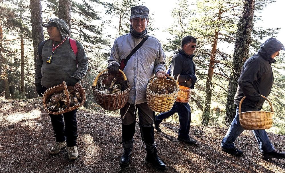 Excursionistas valencianos muestran sus cestas repletas.