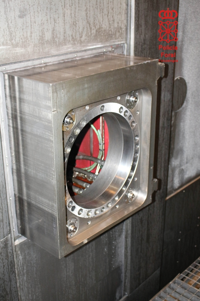 Detalle de la parte móvil de la máquina que aplastó al trabajador