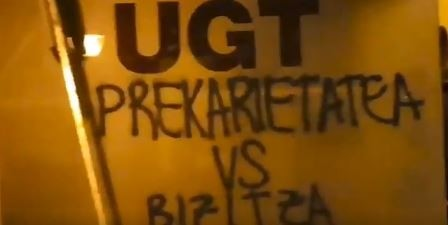 Aparecen pintadas en sedes de UGT en Tafalla y Estella
