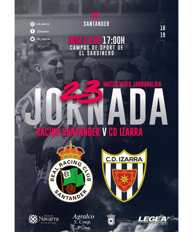 Cartel anunciador del partido realizado por el Izarra @cd_izarra