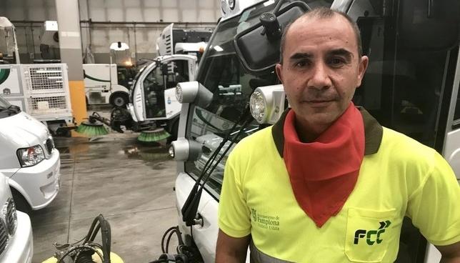 Carlos Calvo, en las instalaciones de FCC en el polígono de Landaben.