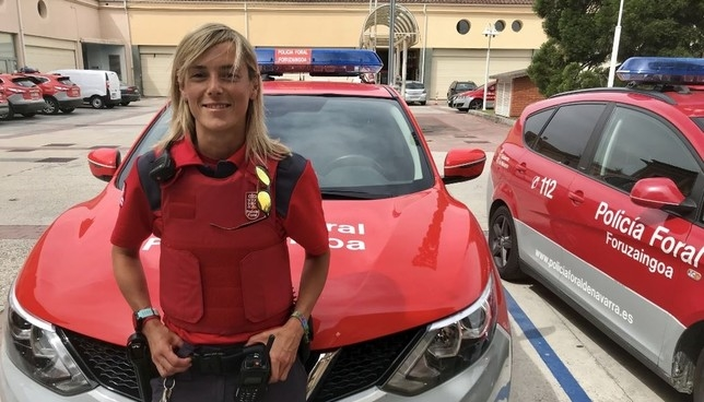 Alicia Salas, en la comisaría central de la Policía Foral.