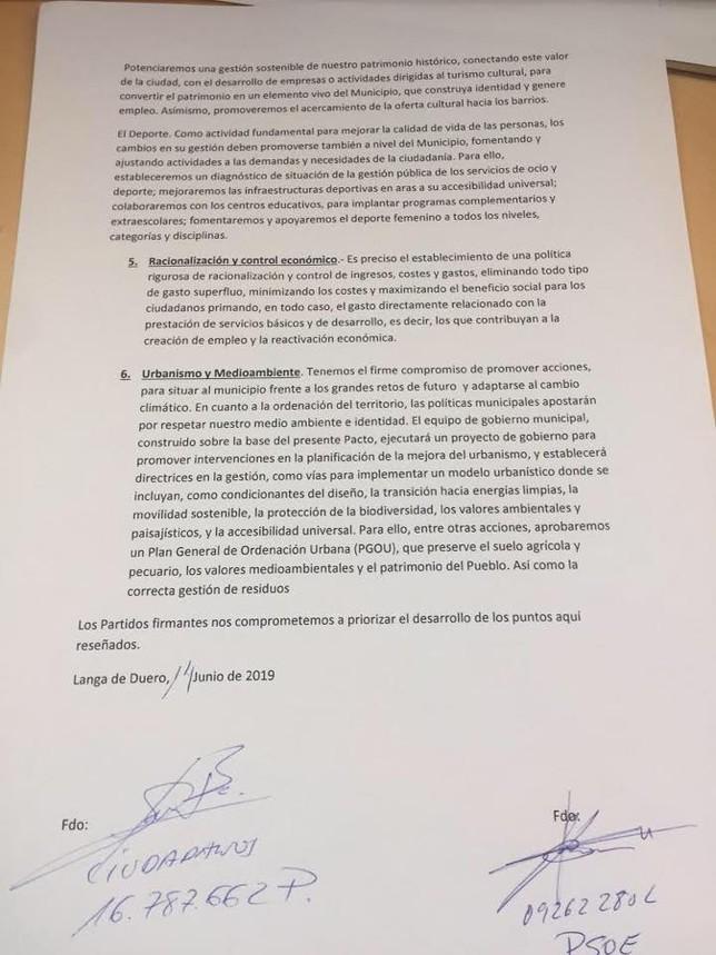 Langa publica el acuerdo PSOE-C's por la Alcaldía