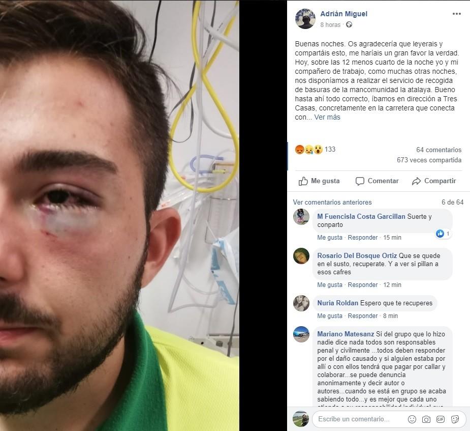Publicación realizada en Facebook por el trabajador agredido.